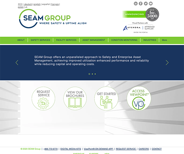SEAM Group website home page